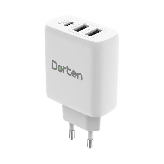3-Port USB Smart ID 37W Wall Quick Charger QC4+ - PD3.0+2.4A_DN2